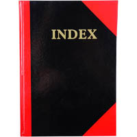 BLACK AND RED NOTEBOOK CASEBOUND RULED A-Z INDEX GLOSS COVER 100 LEAF A4
