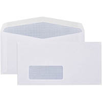 CUMBERLAND DLX ENVELOPES WINDOWFACE SECRETIVE BARCODE LICK AND STICK 80GSM 120 X 235MM WHITE BOX 500