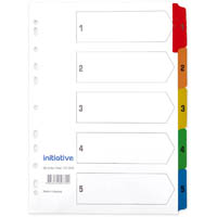 INITIATIVE DIVIDERS INDEX A4 1-5 TAB WHITE