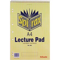 SPIRAX 905 LECTURE BOOK 7MM RULED 7 HOLE PUNCHED TOP OPENING SPIRAL BOUND A4 140 PAGE