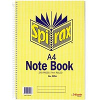 SPIRAX 595A NOTEBOOK 7MM RULED SPIRAL BOUND 240 PAGE A4