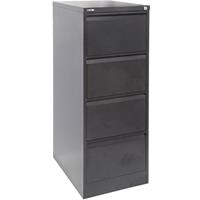 GO STEEL FILING CABINET 4 DRAWERS 460 X 620 X 1321MM BLACK RIPPLE