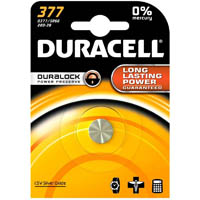 DURACELL 377 SILVER OXIDE BUTTON CELL BATTERY