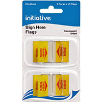 INITIATIVE TRANSPARENT SIGN HERE FLAGS 25 X 44MM YELLOW PACK 2