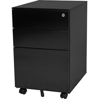 STEELCO TRIMLINE MOBILE PEDESTAL 2 DRAWER 1 FILE 615 X 390 X 500MM BLACK SATIN