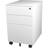 STEELCO TRIMLINE MOBILE PEDESTAL 2 DRAWER 1 FILE 615 X 390 X 500MM WHITE SATIN