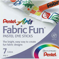 PENTEL ARTS FABRIC FUN PASTEL DYE STICKS ASSORTED COLOURS PACK 7