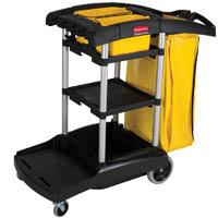 RUBBERMAID HIGH CAPACITY JANITOR CART BLACK