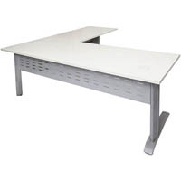RAPID SPAN DESK AND RETURN METAL MODESTY PANEL 1800 X 700MM / 1100 X 600MM WHITE/SILVER