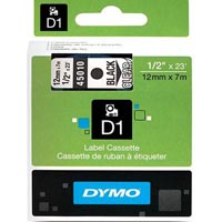 DYMO 45010 D1 LABELLING TAPE 12MM X 7M BLACK ON CLEAR