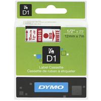 DYMO 45015 D1 LABELLING TAPE 12MM X 7M RED ON WHITE
