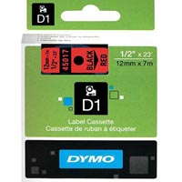 DYMO 45017 D1 LABELLING TAPE 12MM X 7M BLACK ON RED