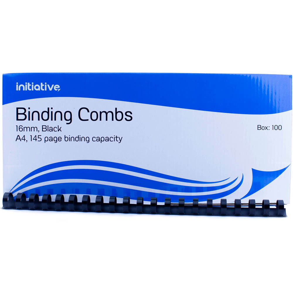 Image for INITIATIVE PLASTIC BINDING COMB 16MM 145 PAGE CAPACITY A4 BLACK BOX 100 from Copylink Office Products Depot