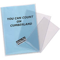 CUMBERLAND EXTRA HEAVY DUTY UNPUNCHED CARD HOLDER 200 MICRON A5 CLEAR PACK 25