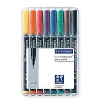 STAEDTLER 318 LUMOCOLOR PERMANENT MARKER PEN FINE ASSORTED WALLET 8