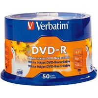 VERBATIM DVD-R 4.7GB 16X WHITE PRINTABLE PACK 50