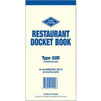 ZIONS RESTAURANT DOCKET BOOK CARBONLESS DUPLICATE 200 X 100MM 50 SETS